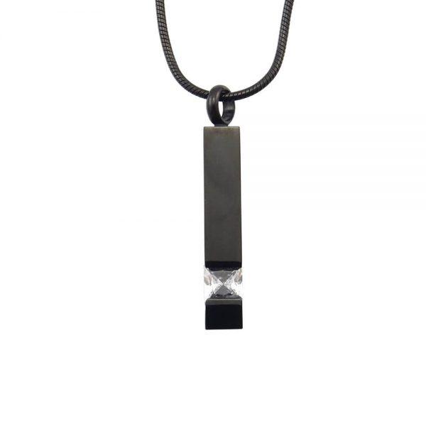 Ashanger rvs zwart met steen