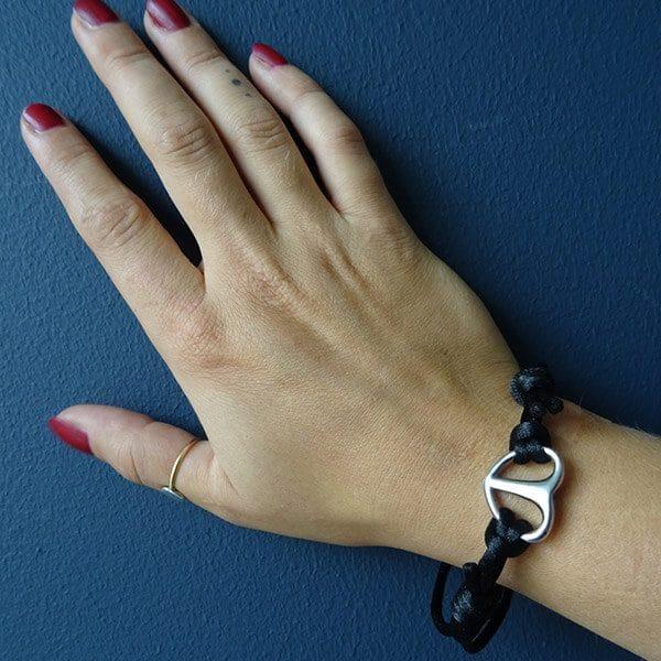 As armband rvs hart touw zwart