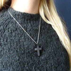 Ashanger edelstaal kruis zwart