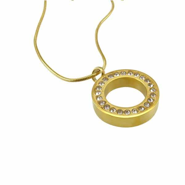 Ashanger cirkel goud strass rond zij
