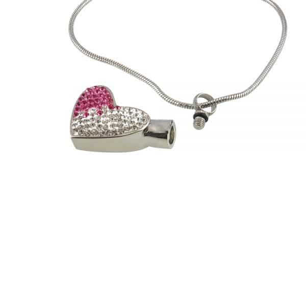 Ashanger hart strass rose wit open