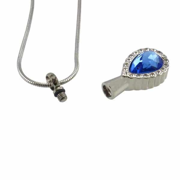 Ashanger druppel blauw met strass open
