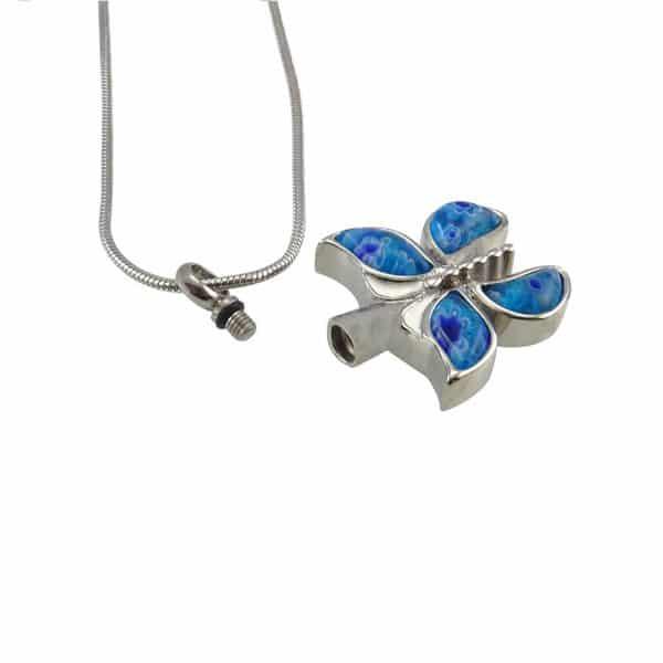 Ashanger rvs vlinder blauw open