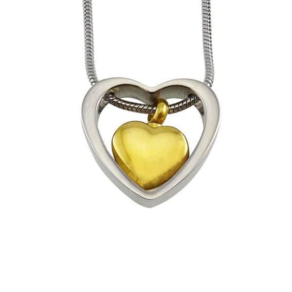 Ashanger rvs hart in hart goud