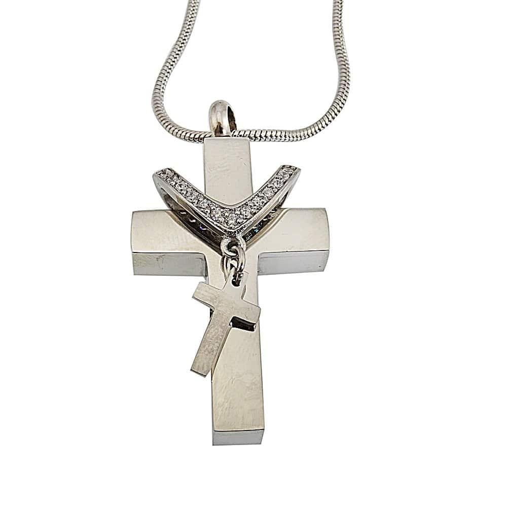 Ashanger dubbel kruis rvs ketting strass steentjes