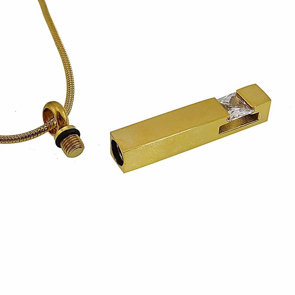 Ashanger rvs goud staaf zirkonia steen open