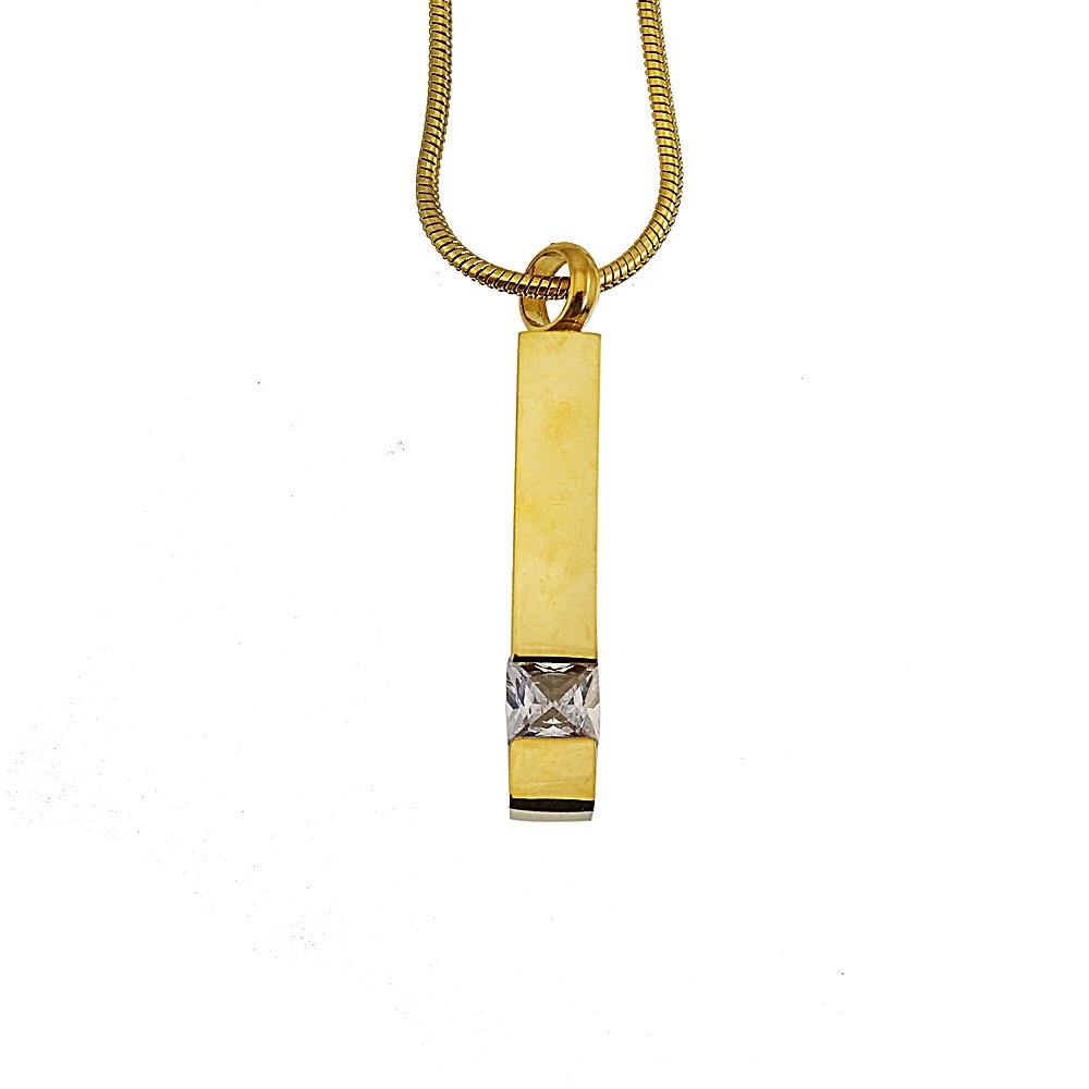 Ashanger rvs goud staaf zirkonia steen