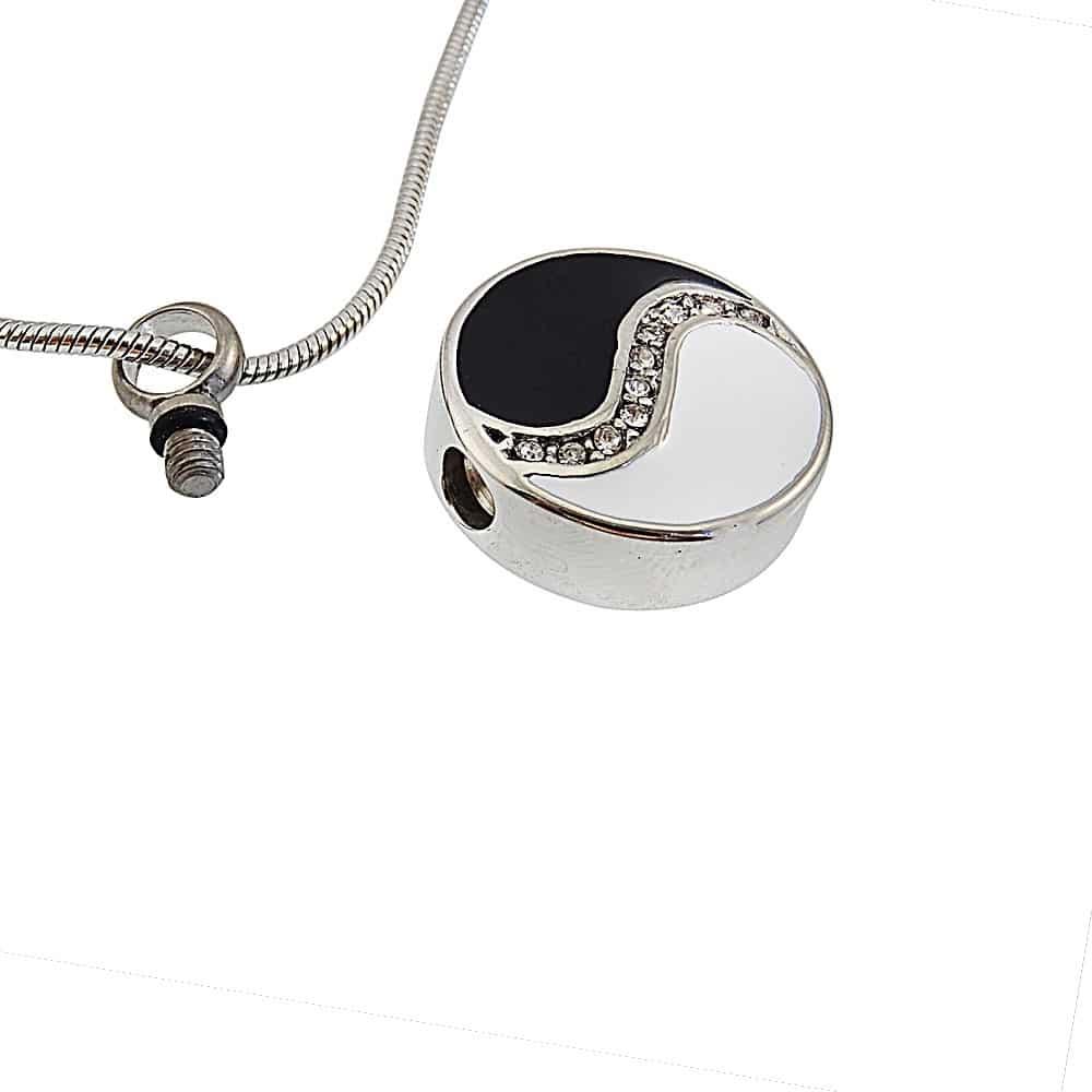 Ashanger yin yang rond met strass steentjes open