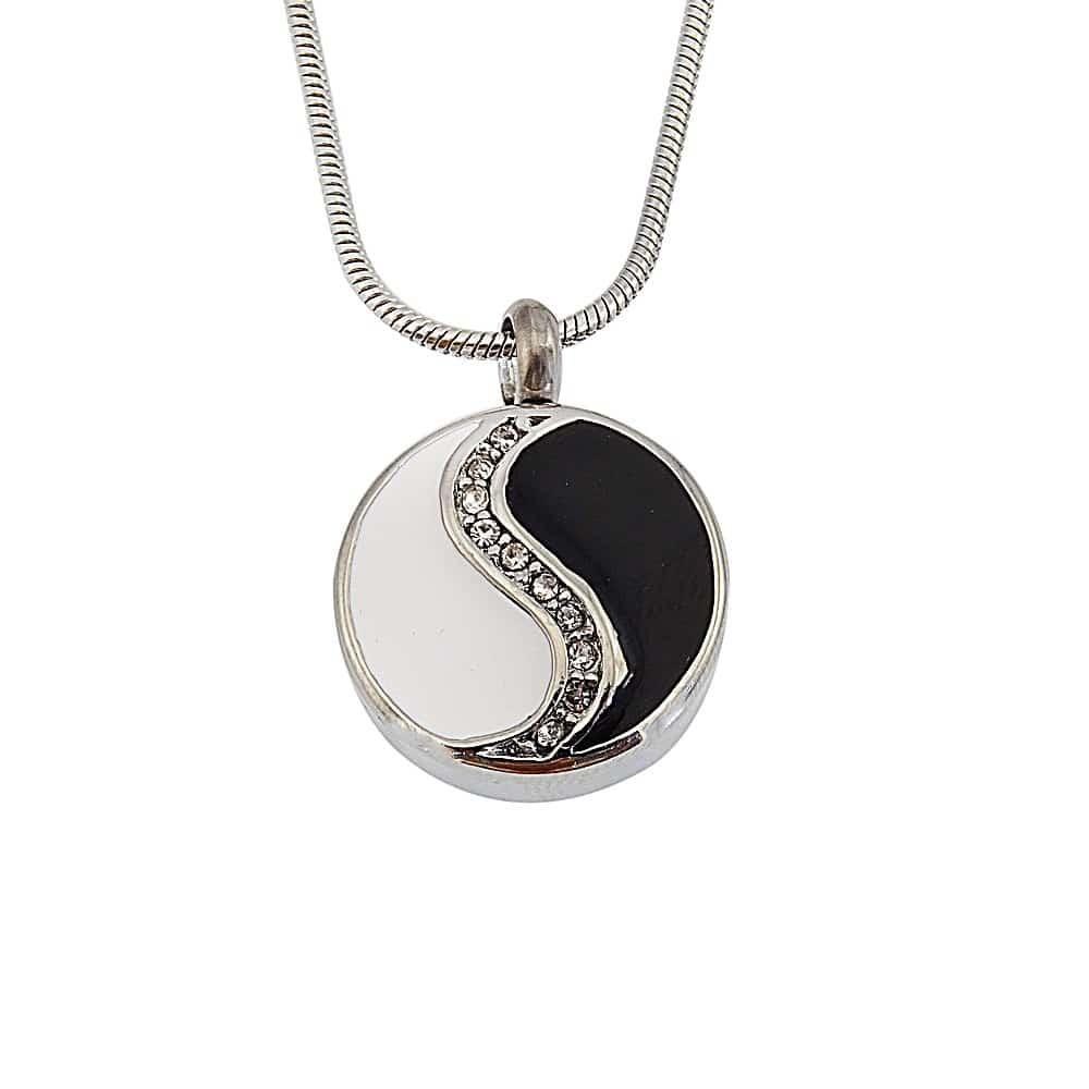 Ashanger yin yang rond met strass steentjes