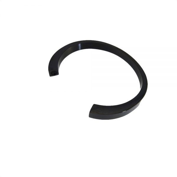 As armband rvs circle zwart zij