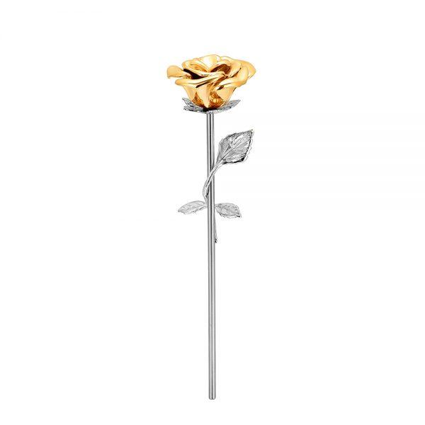 Mini urn bloem roos rvs en goud