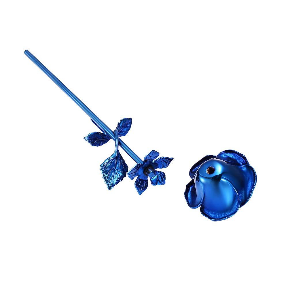 Mini urn roos bloem blauw open