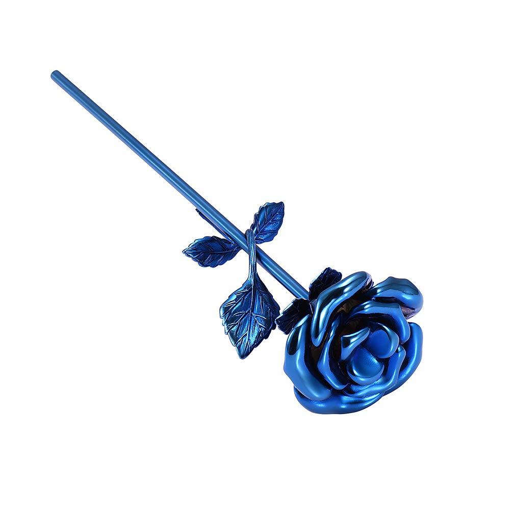 Mini urn roos bloem blauw zij