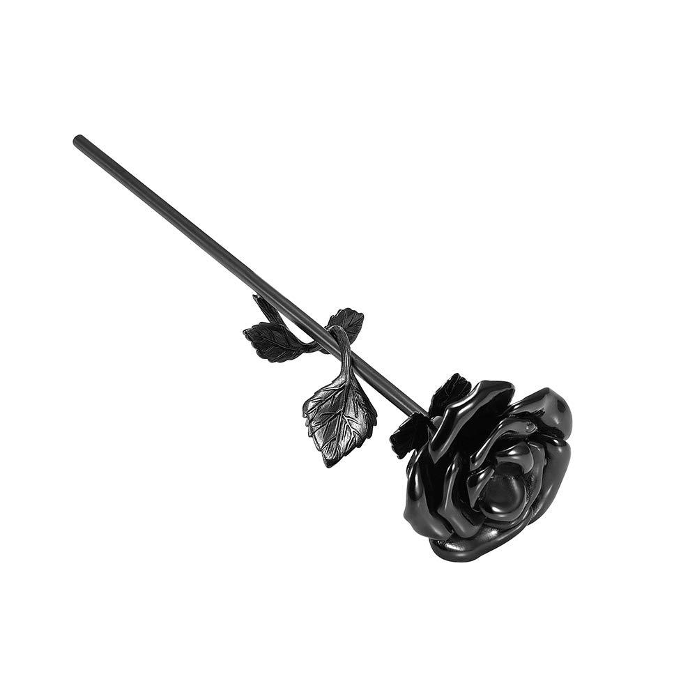 Mini urn roos bloem zwart zij
