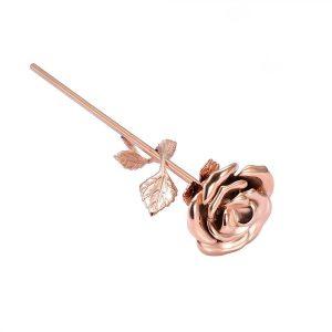 Mini urn bloem roos rosé goud zij