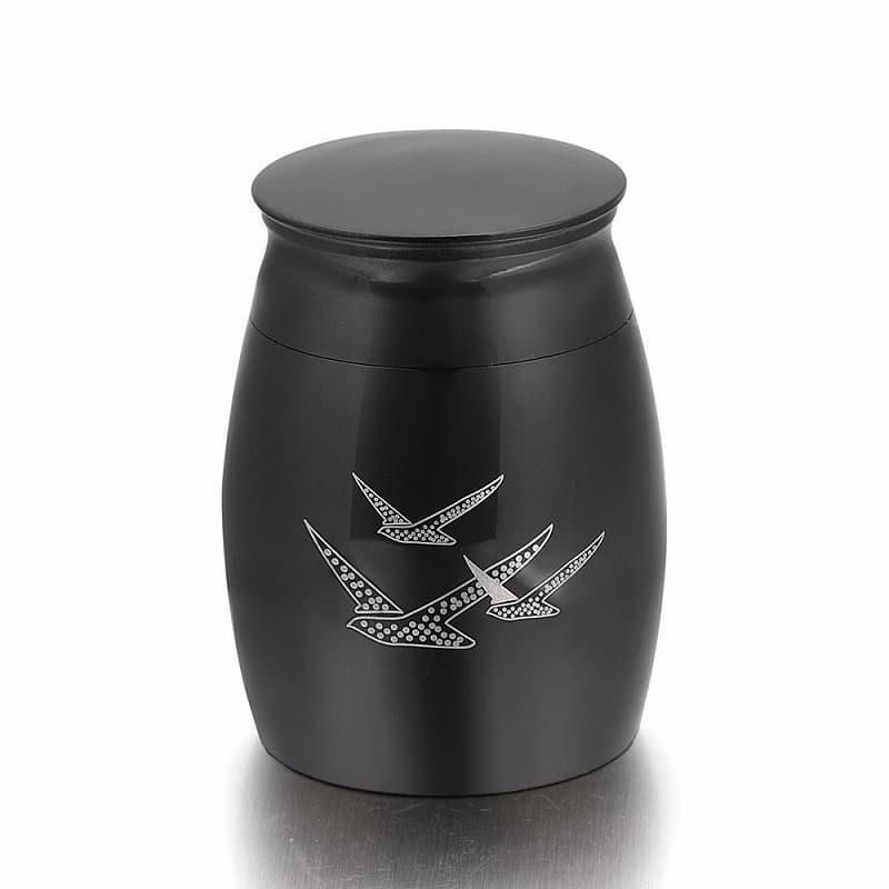 Mini urn rvs vogels zwart