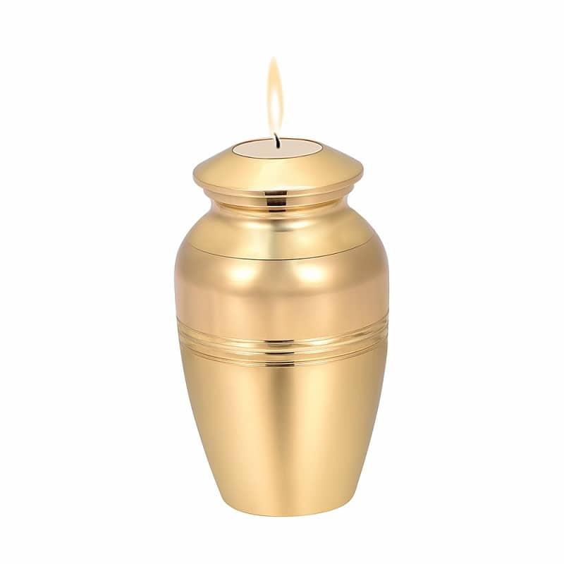 Mini urn rvs met kaars goud