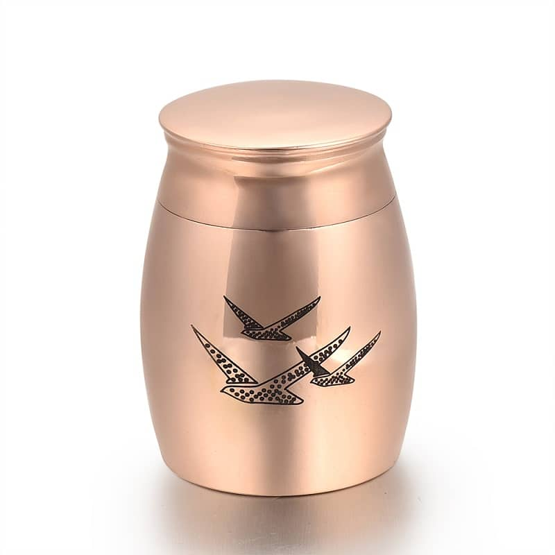 Mini urn rvs vogels rosé goud
