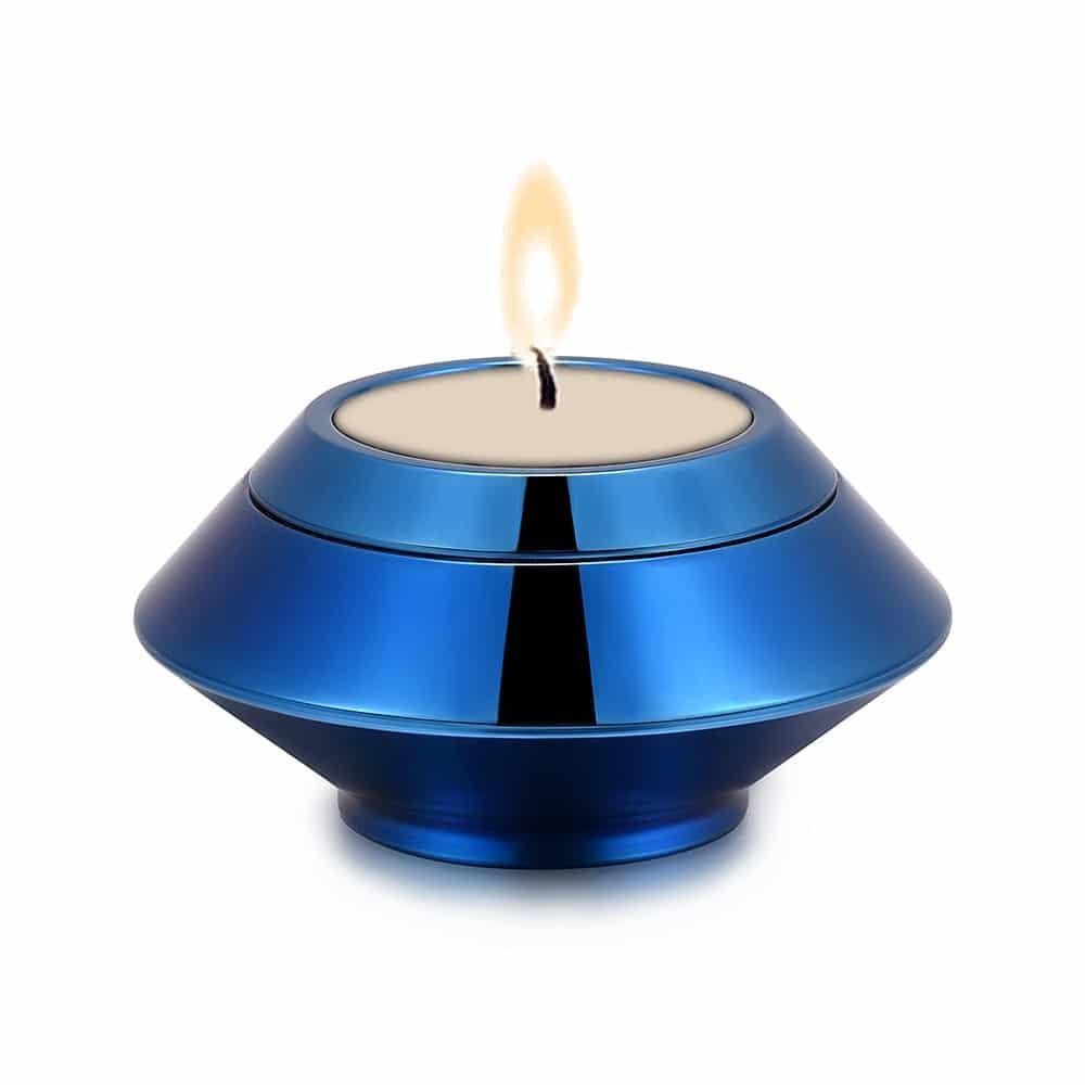Mini urn rvs waxinelichthouder blauw kaars