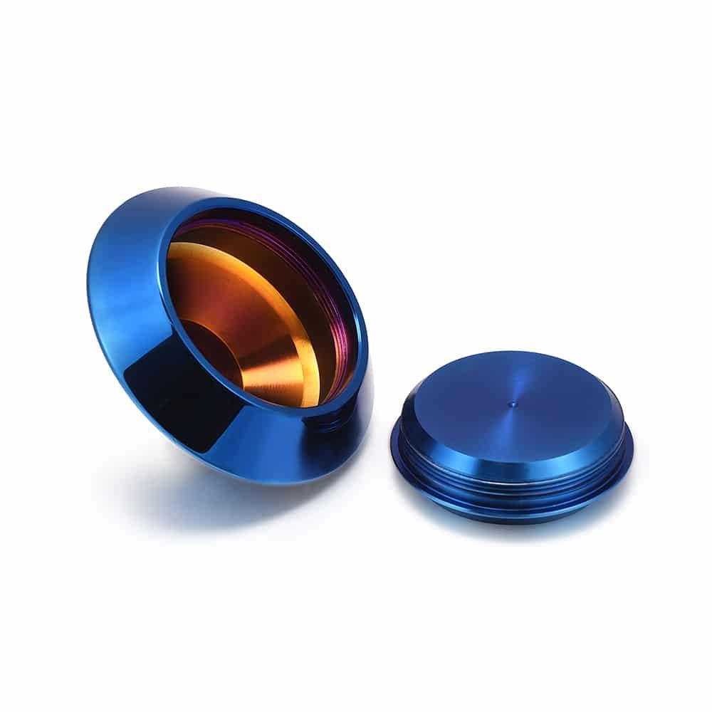 Mini urn rvs waxinelichthouder blauw open