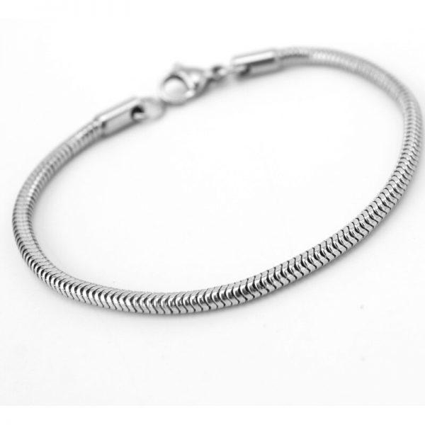 Asbedel armband rvs slangmodel