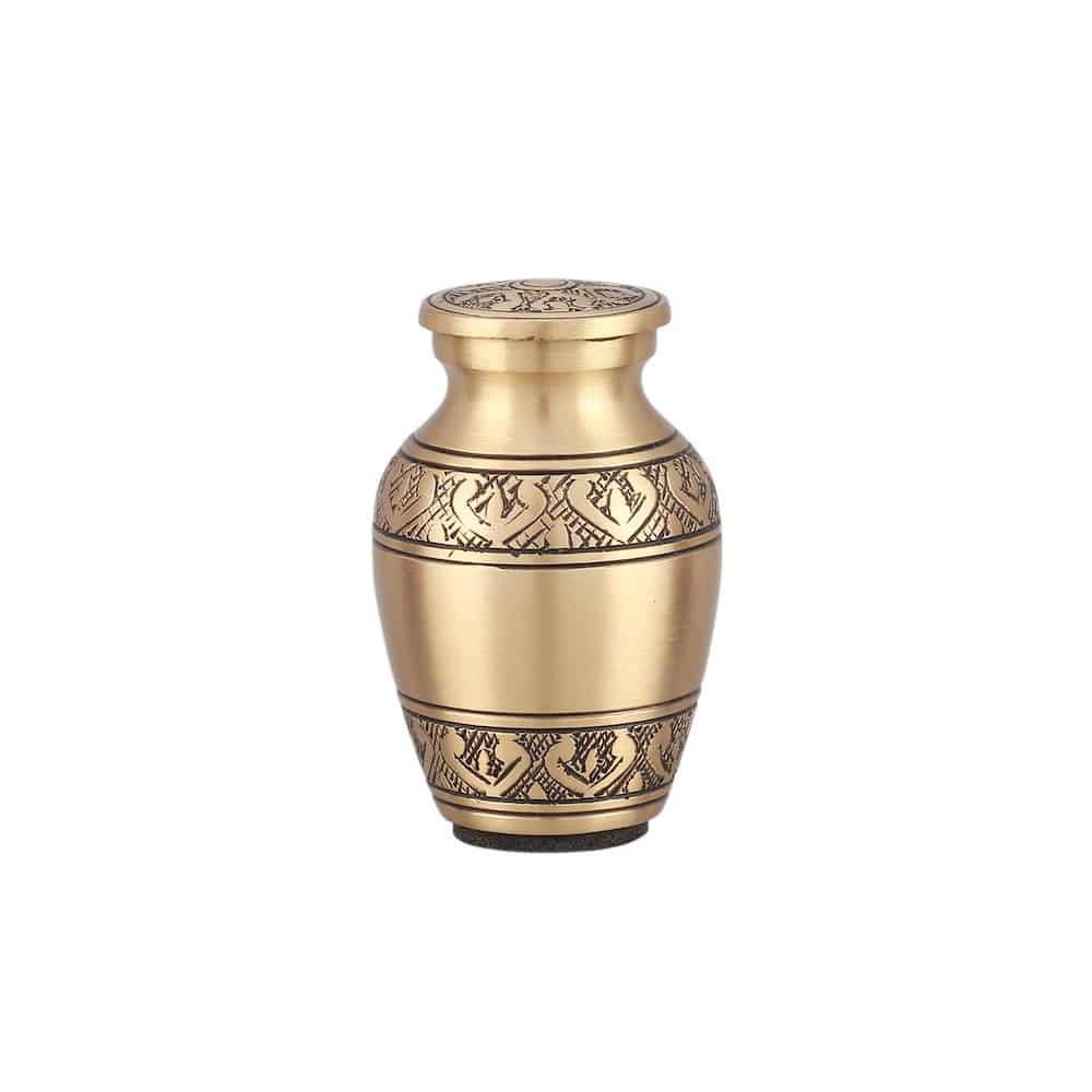 Mini urn messing design met gravure