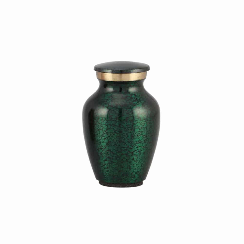 Mini urn messing groen krakelee motief
