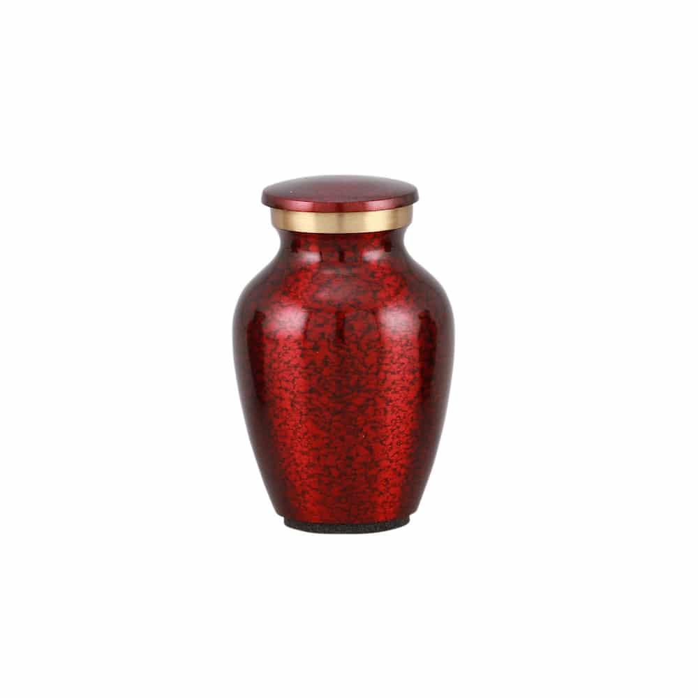 Mini urn messing rood krakelee motief