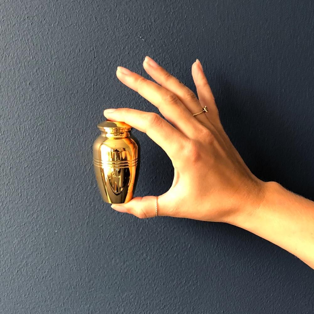 Mini urn rvs kaars goud met rand hand