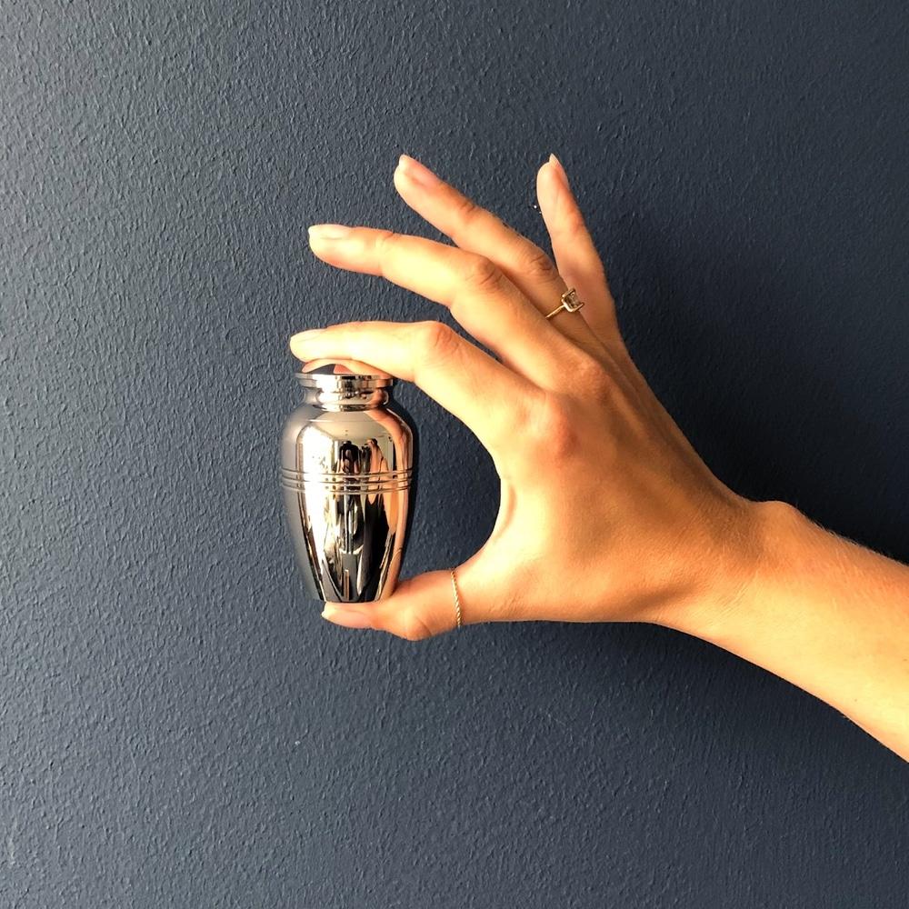 Mini urn rvs kaars met rand hand