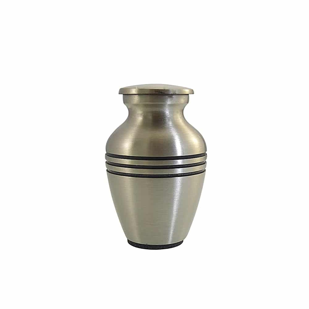 Mini urn rvs kleur met zwarte strepen