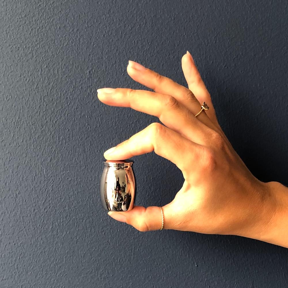 Mini urn rvs uni zilver hand