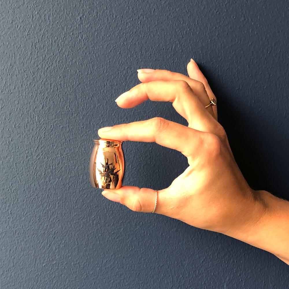 Mini urn rvs vogels rosé goud hand