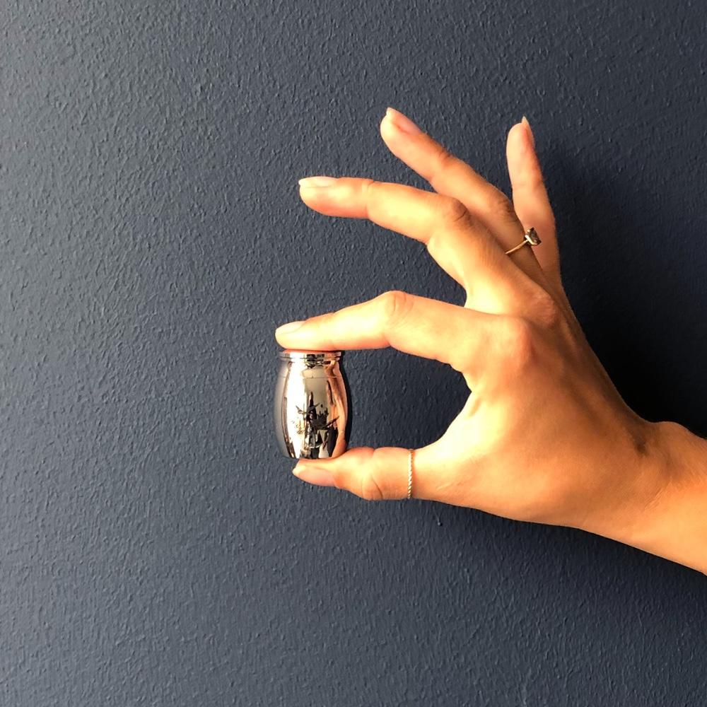 Mini urn rvs vogels zilver hand