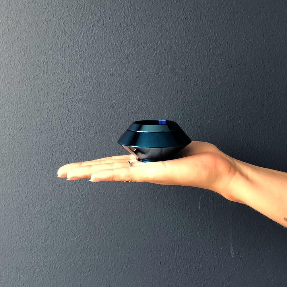 Mini urn rvs waxinelichthouder blauw hand