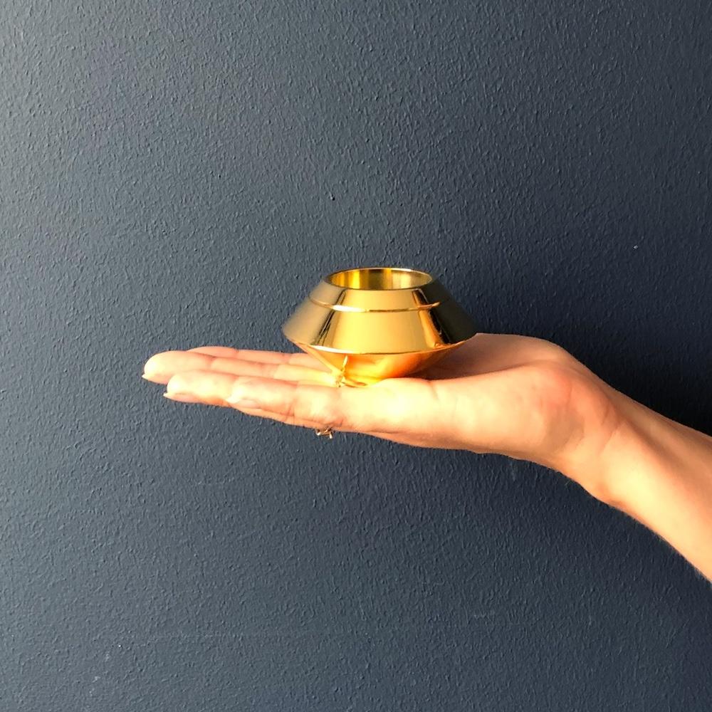 Mini urn rvs waxinelichthouder goud hand