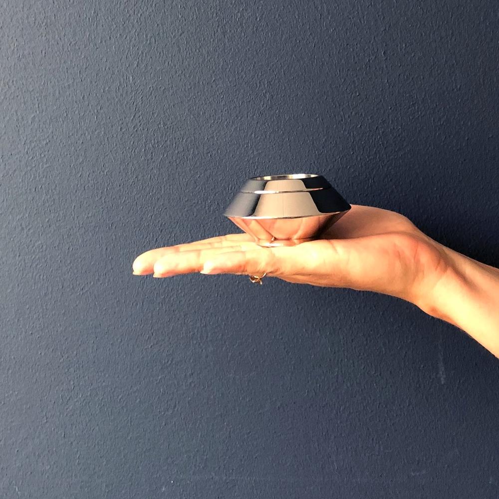 Mini urn rvs waxinelichthouder zilver hand