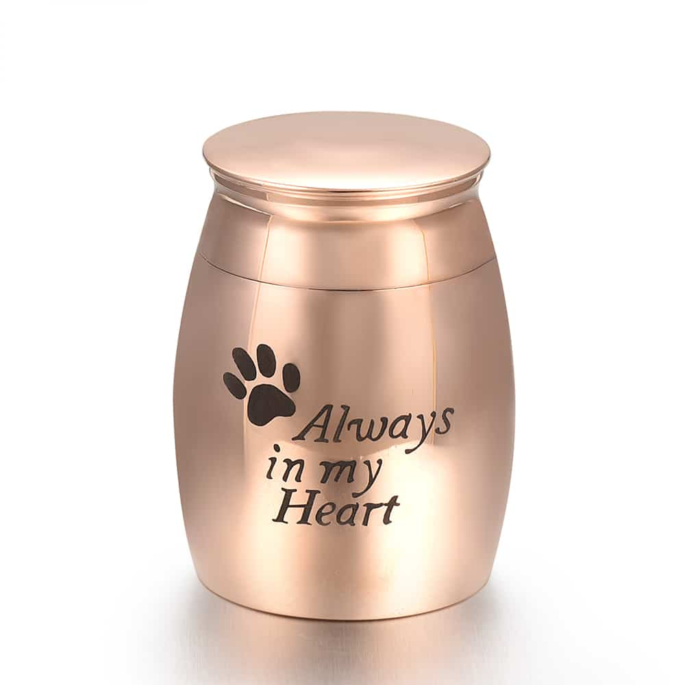 Mini urn rvs always in my heart rosé goud