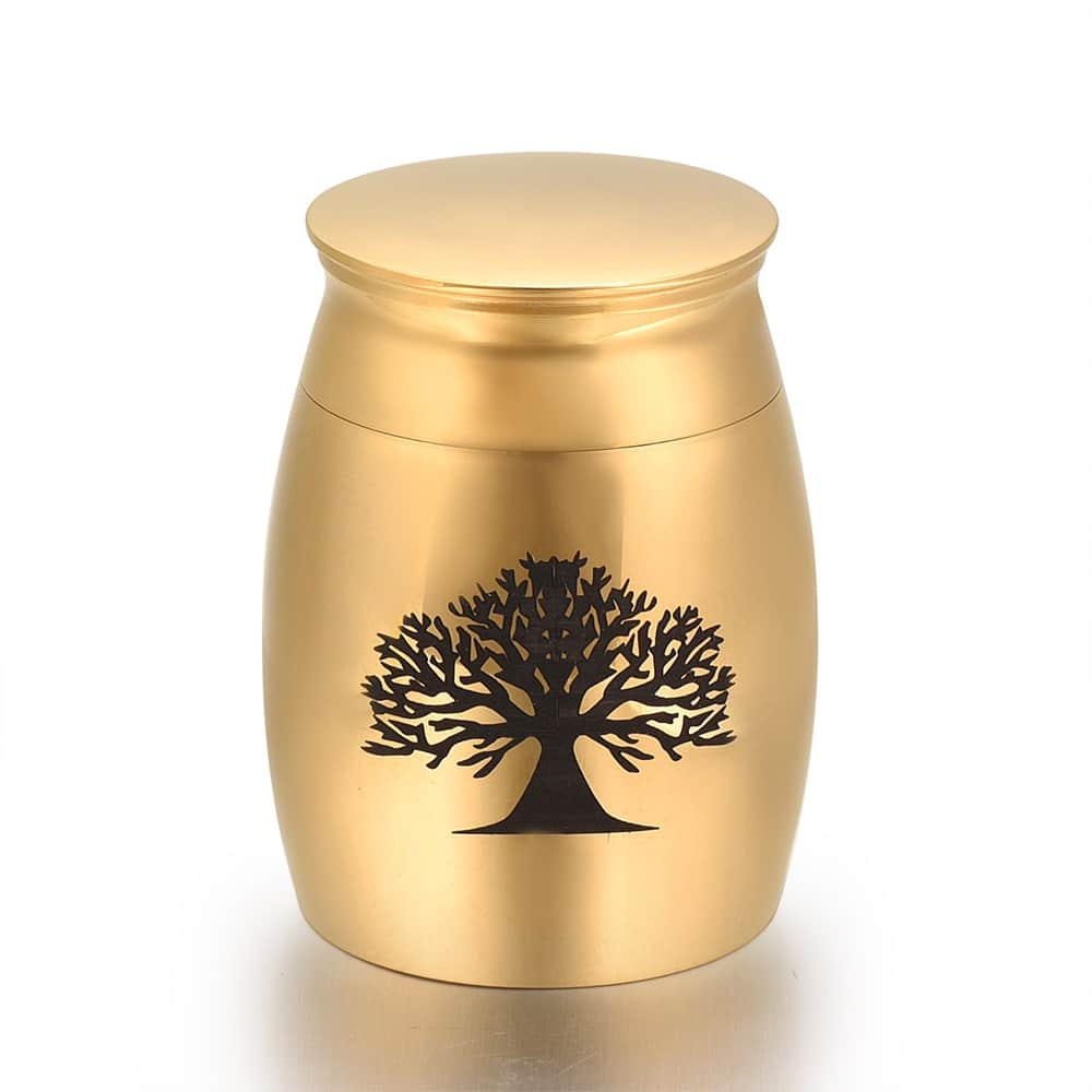 Mini urn rvs three of life goud