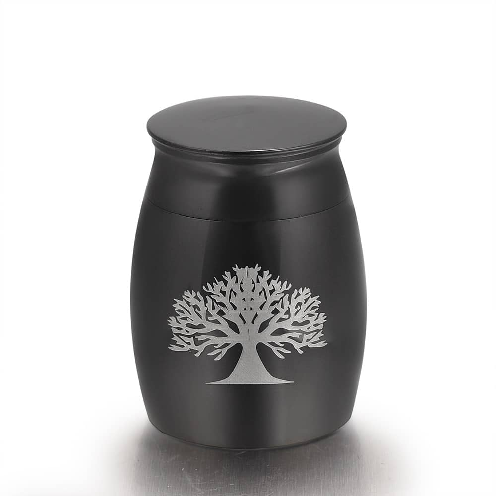 Mini urn rvs three of life zwart