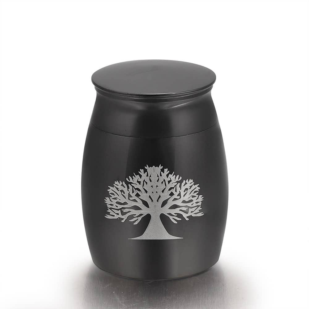 Mini urn rvs three of life zwart