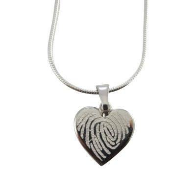 Vingerafdruk hanger hart zilver 925