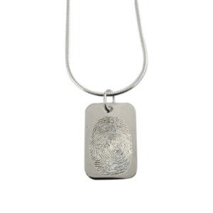 Vingerafdruk hanger zilver 925 plaatje