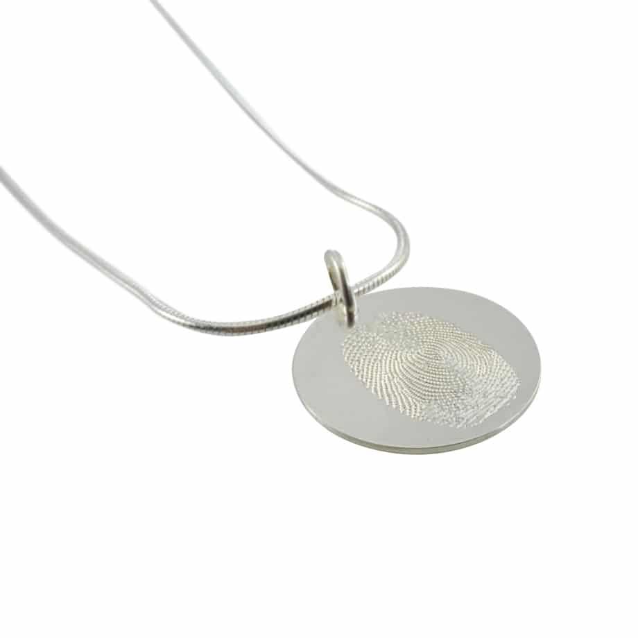 Vingerafdruk hanger zilver rond 925