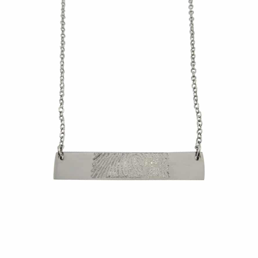 Vingerafdruk ketting bar zilver 925