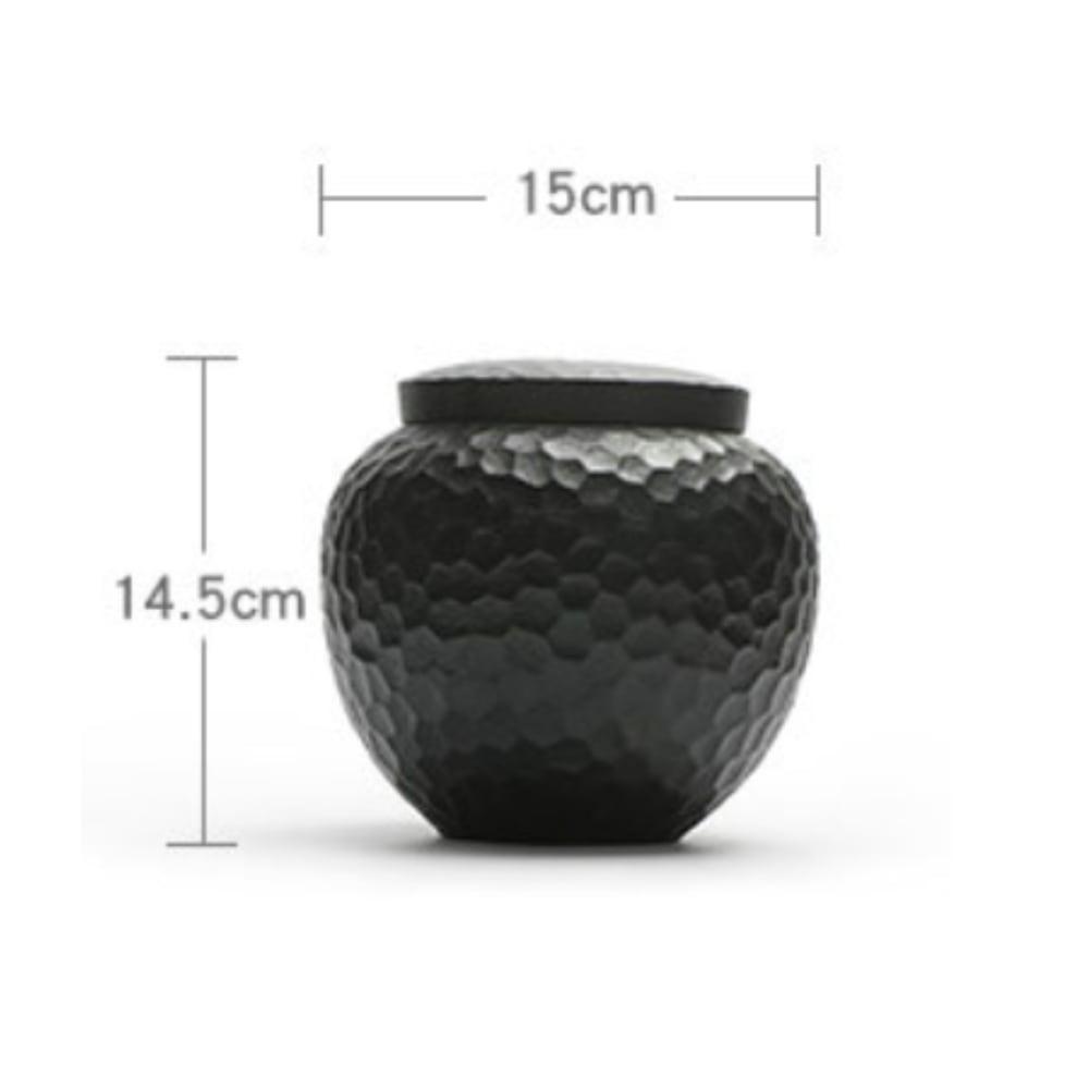Urn keramiek hamerslag ronde vaas zwart afmetingen