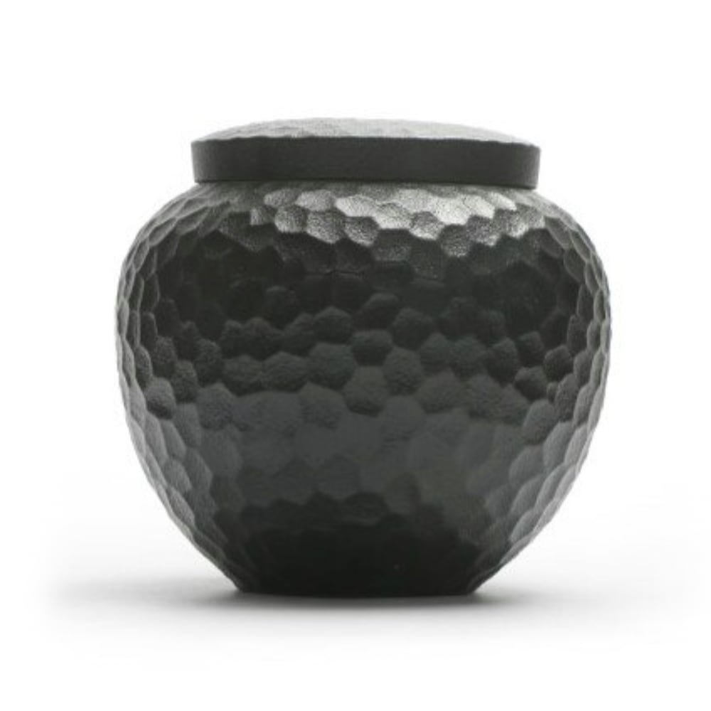 Urn keramiek hamerslag ronde vaas zwart