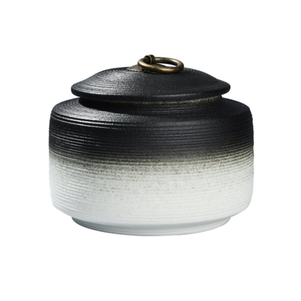 Urn keramiek Japanse Heiwa zwart wit verloop