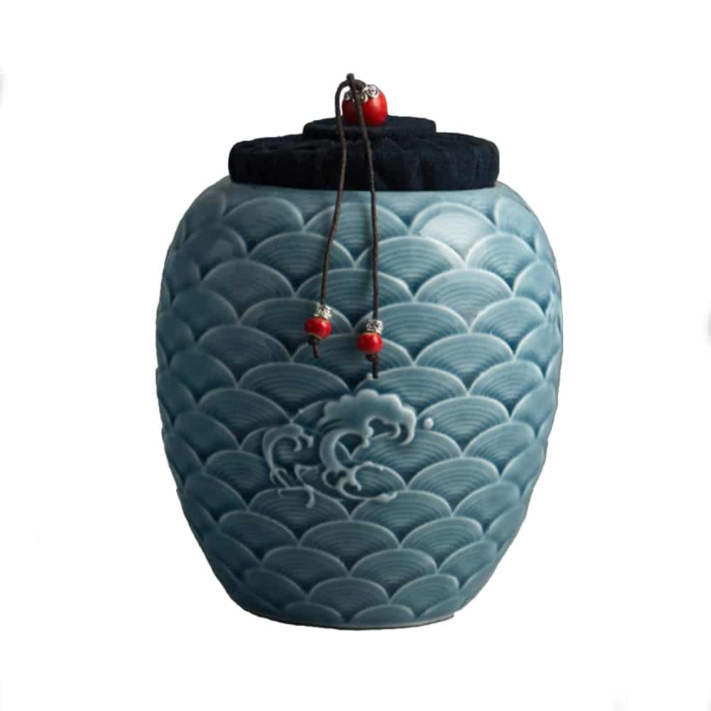 Urn keramiek Japanse zee blauw