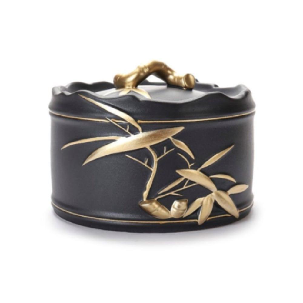 Urn keramiek Japans zwart goud bamboe